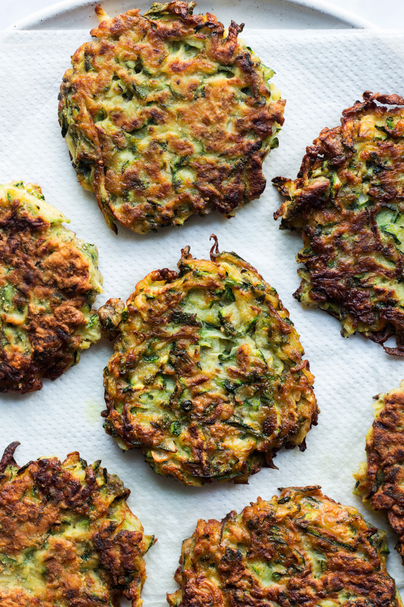 vegan courgette fritters drained