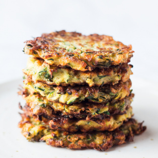 vegan zucchini fritters stack