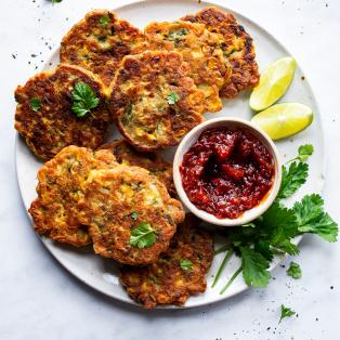 vegan corn fritter platter