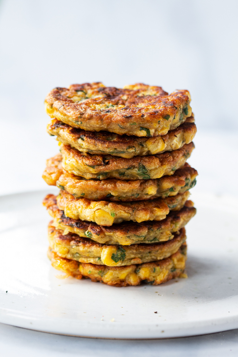vegan corn fritters stack