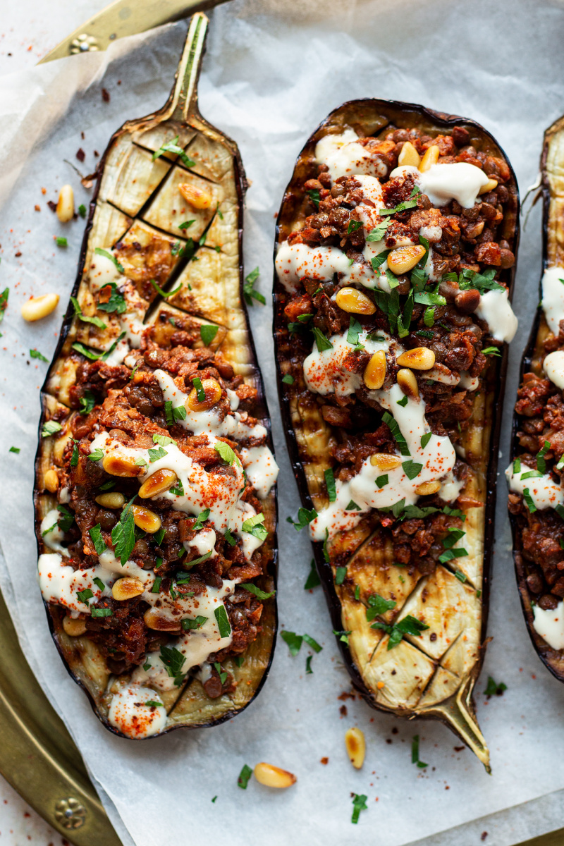 vegan mince stuffed eggplants macro