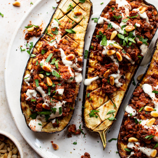 vegan mince stuffed eggplants plate
