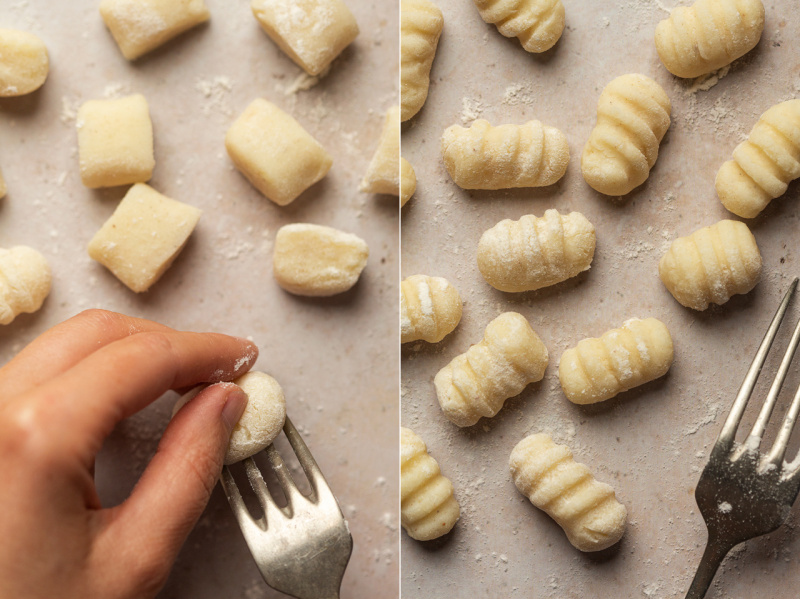 vegan gnocchi shaping