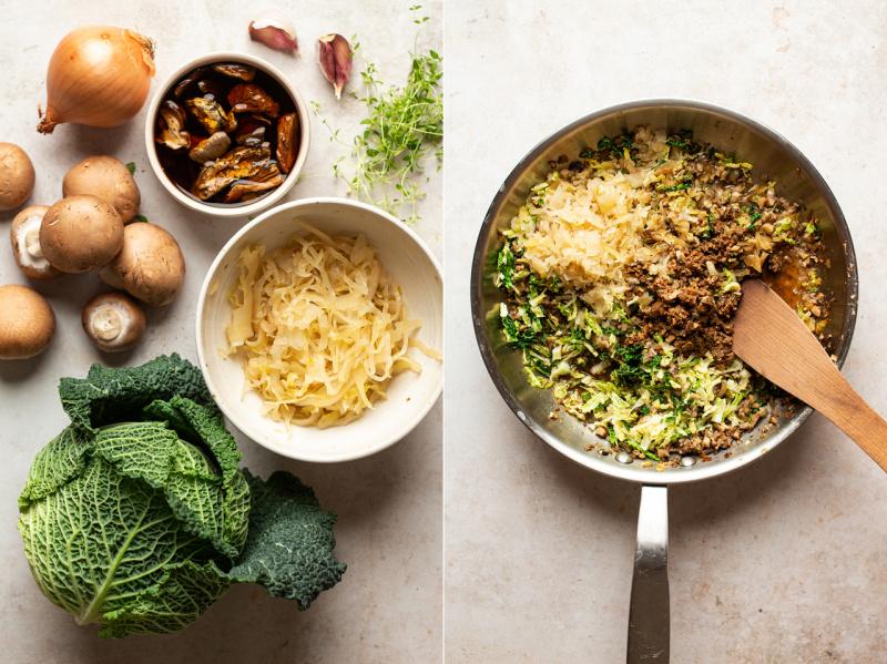 vegan mushroom cabbage pierogi filling