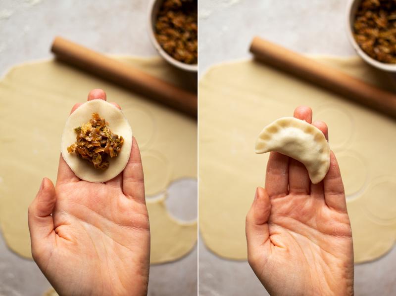 vegan mushroom cabbage pierogi process