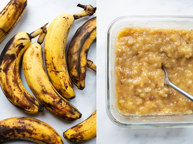 vegan peanut butter banana bread bananas