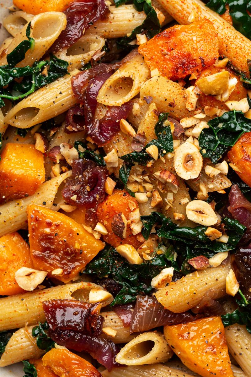 caramelised onion squash pasta close up
