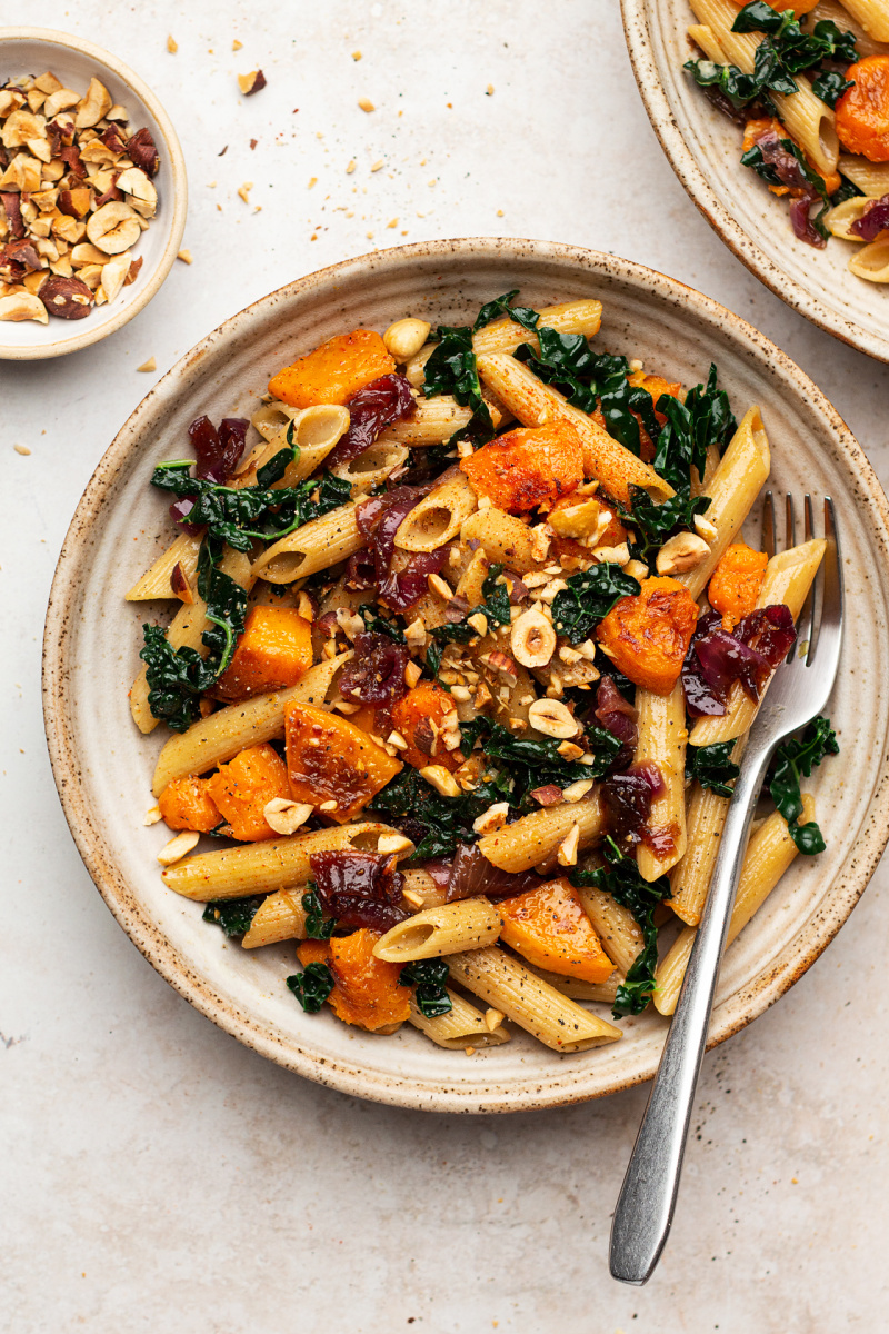 caramelised onion squash pasta plate