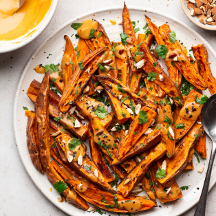 roasted sweet potatoes miso platter