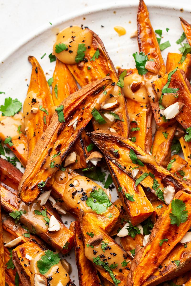 roasted sweet potatoes miso platter macro