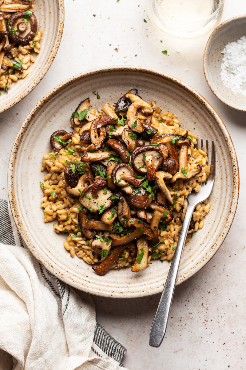 vegan mushroom risotto meal