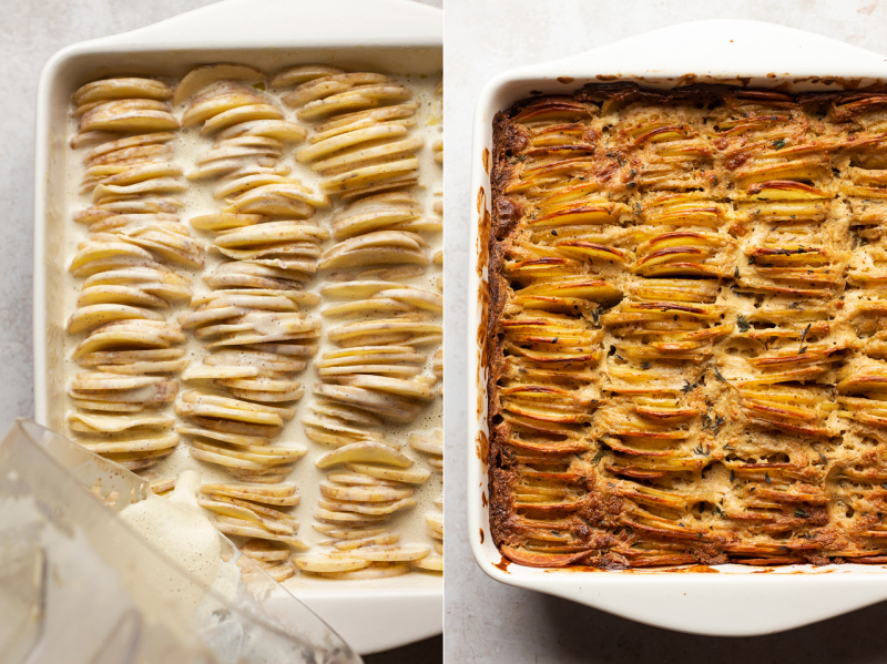 vegan potato gratin before after