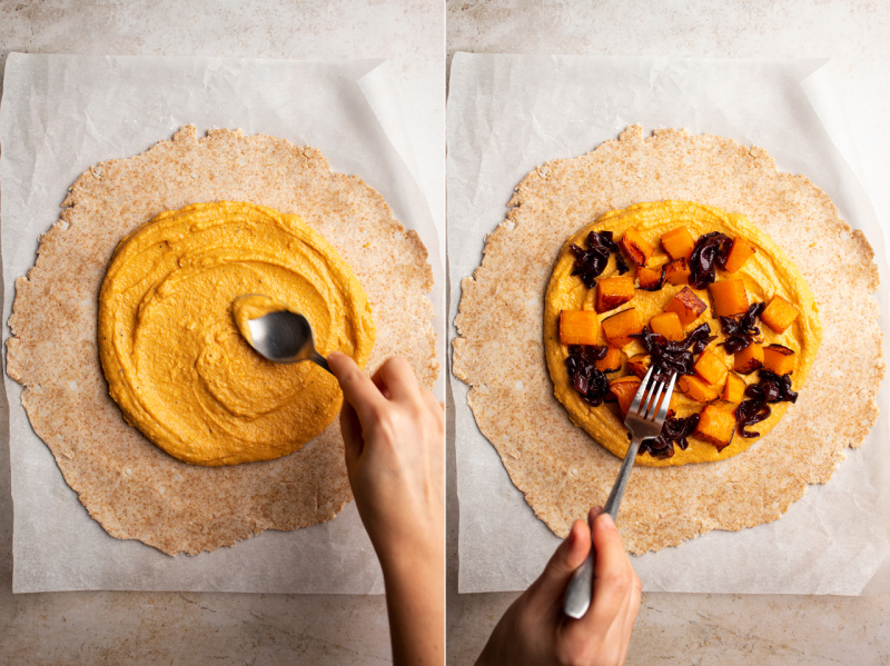 vegan pumpkin galette process