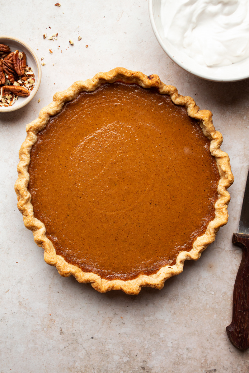 vegan pumpkin pie baked