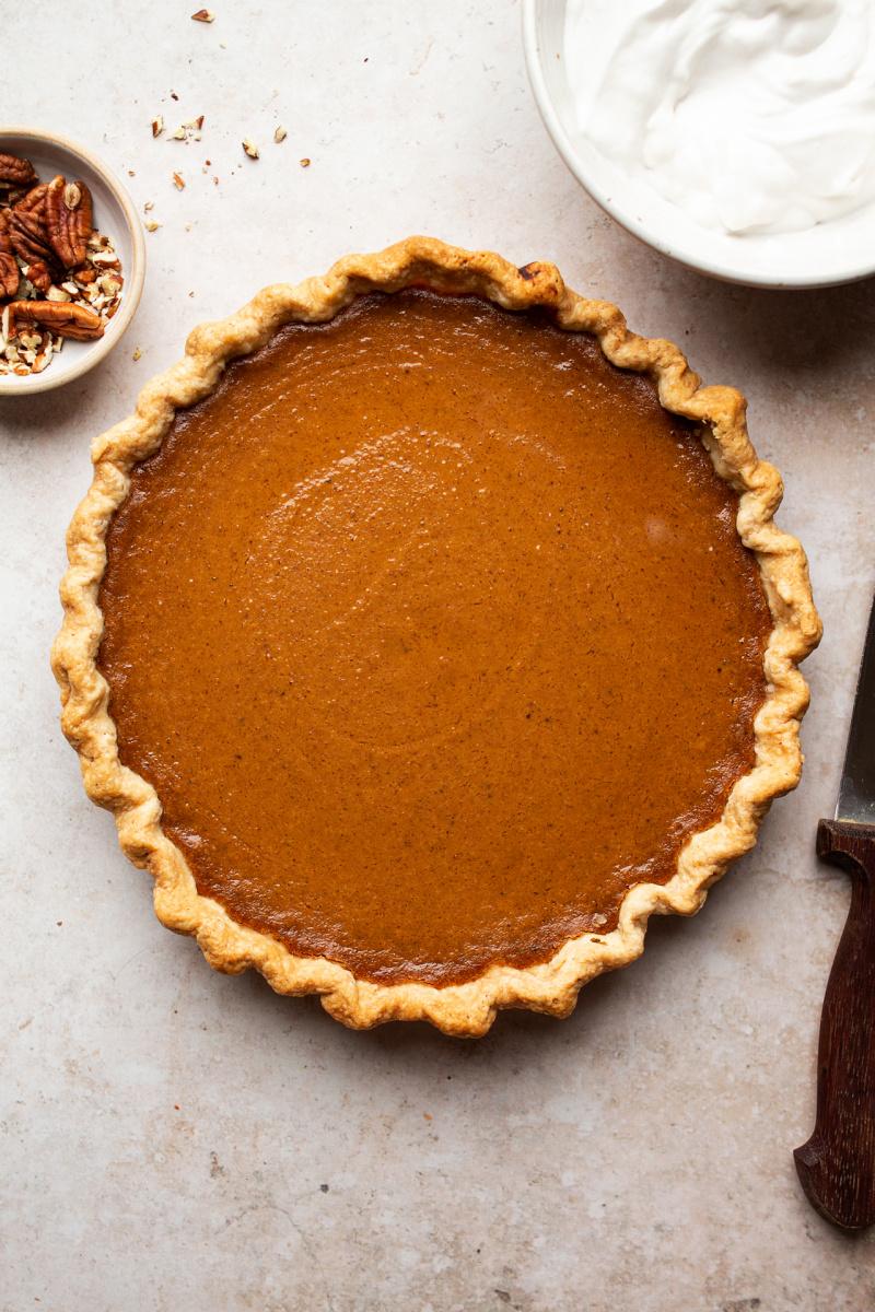 vegan pumpkin pie baked