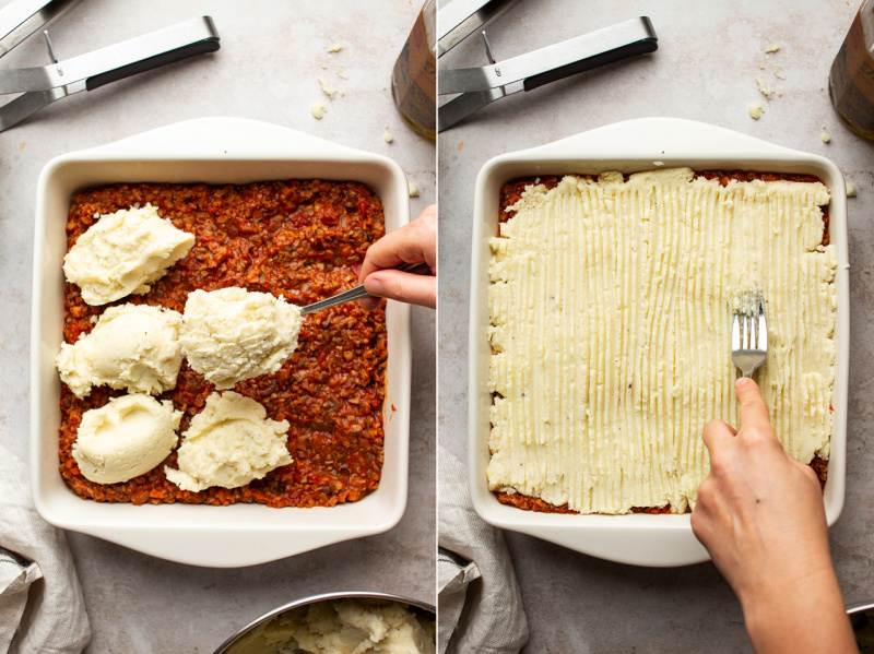 vegan shepherds pie assembly