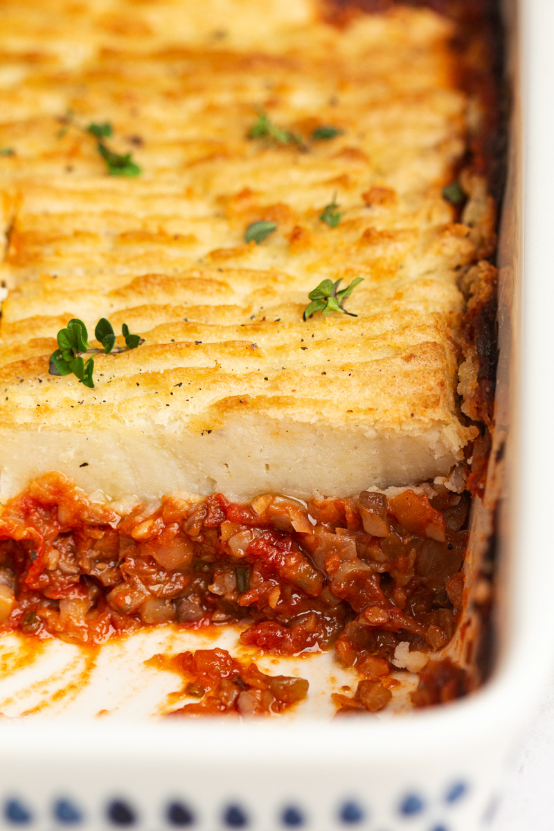 vegan shepherds pie close up