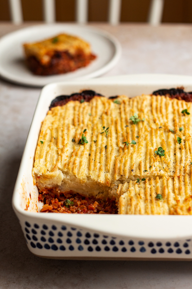 vegan shepherds pie table