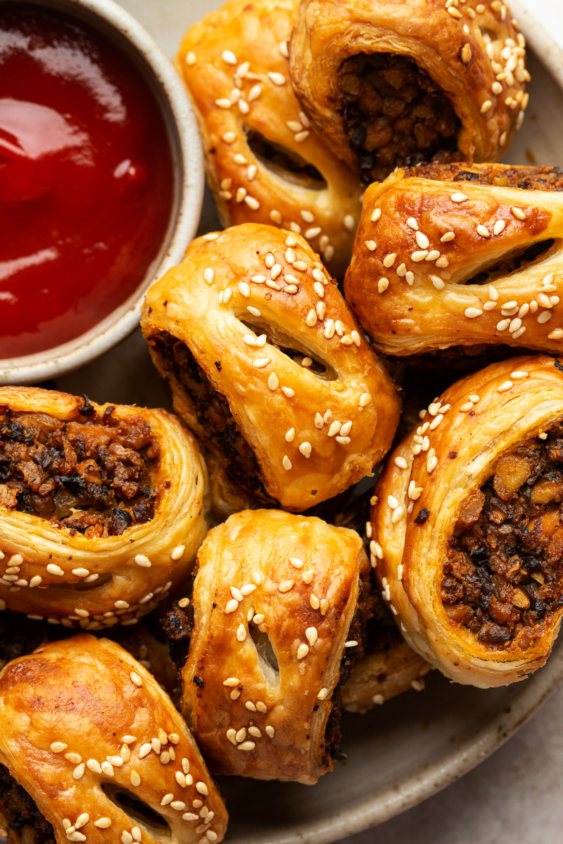 mini vegan sausage rolls close up