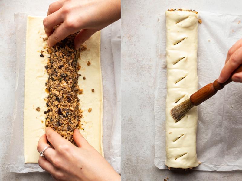 mini vegan sausage rolls process