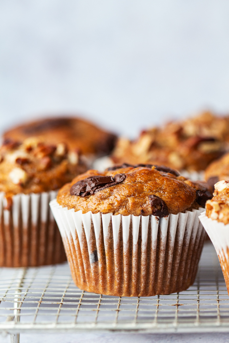 oilfree peanut butter banana muffins side