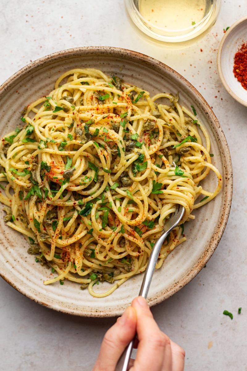 simplest vegan pasta plate