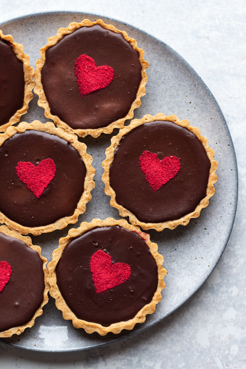 chocolate raspberry tarts plate