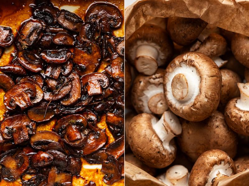 vegan balsamic mushroom pasta mushrooms