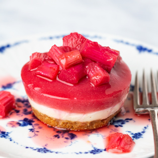 vegan rhubarb ginger cheesecakes one