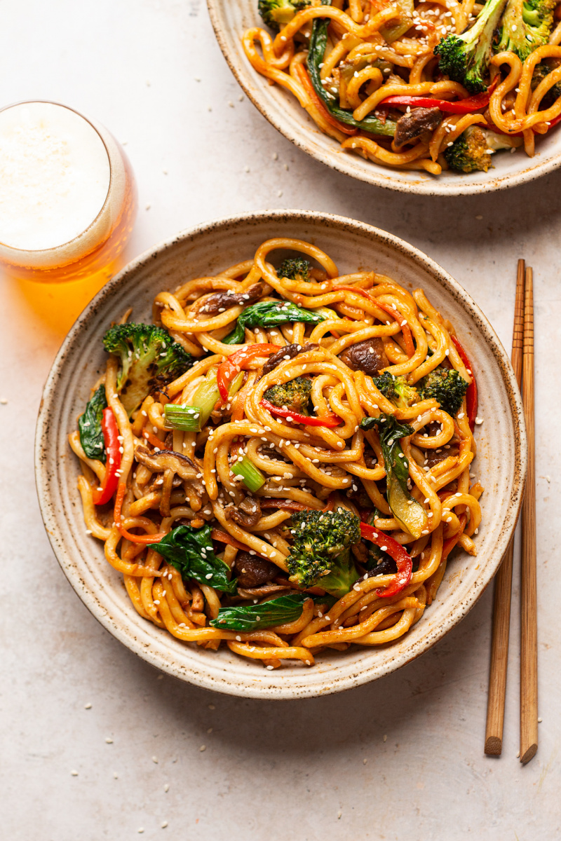vegan yaki udon portion