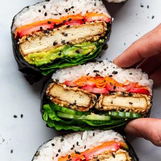 sesame tofu onigirazu