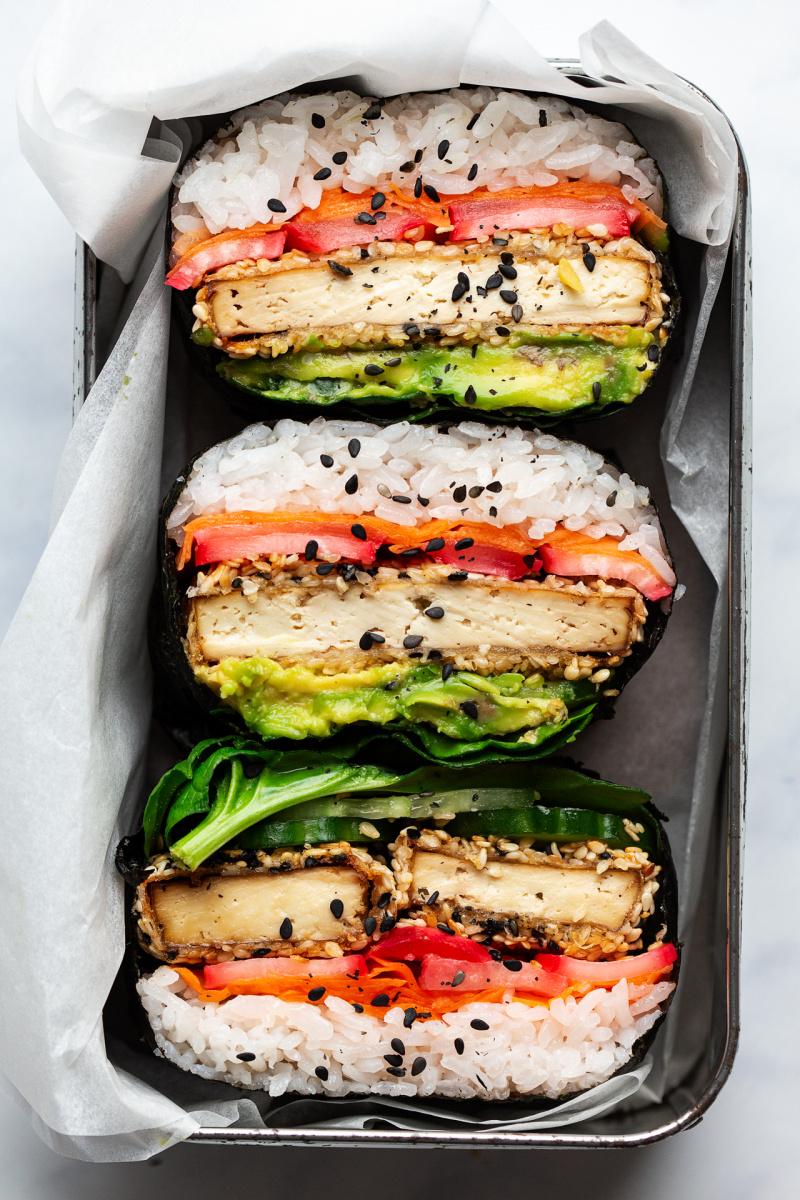 sesame tofu onigirazu lunch box