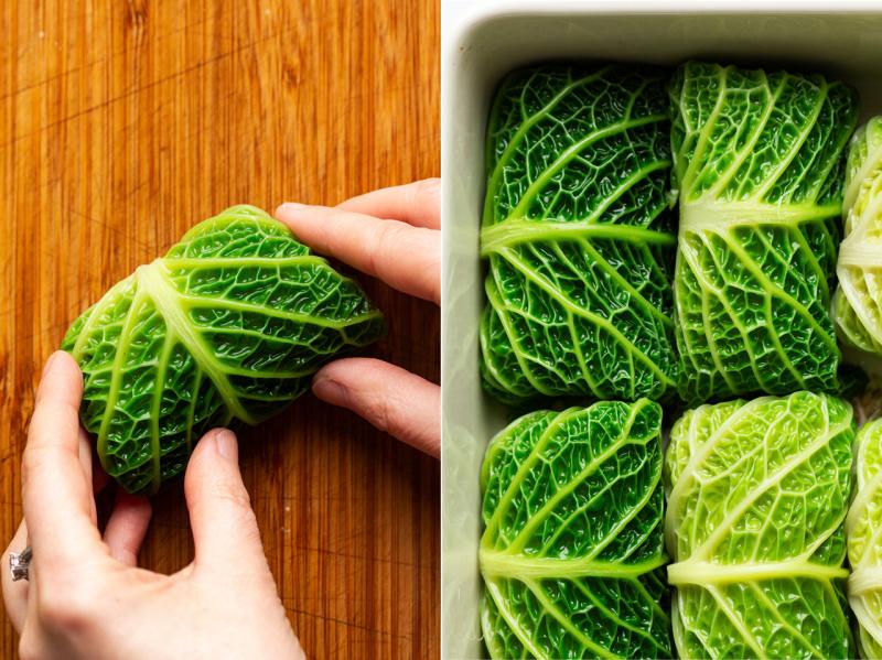 vegan cabbage rolls rolling
