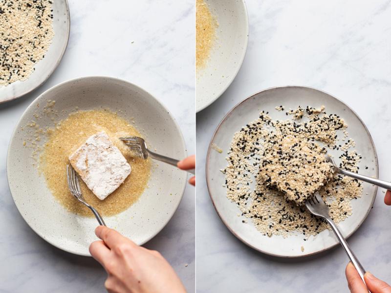 vegan sesame encrusted tofu steaks coating