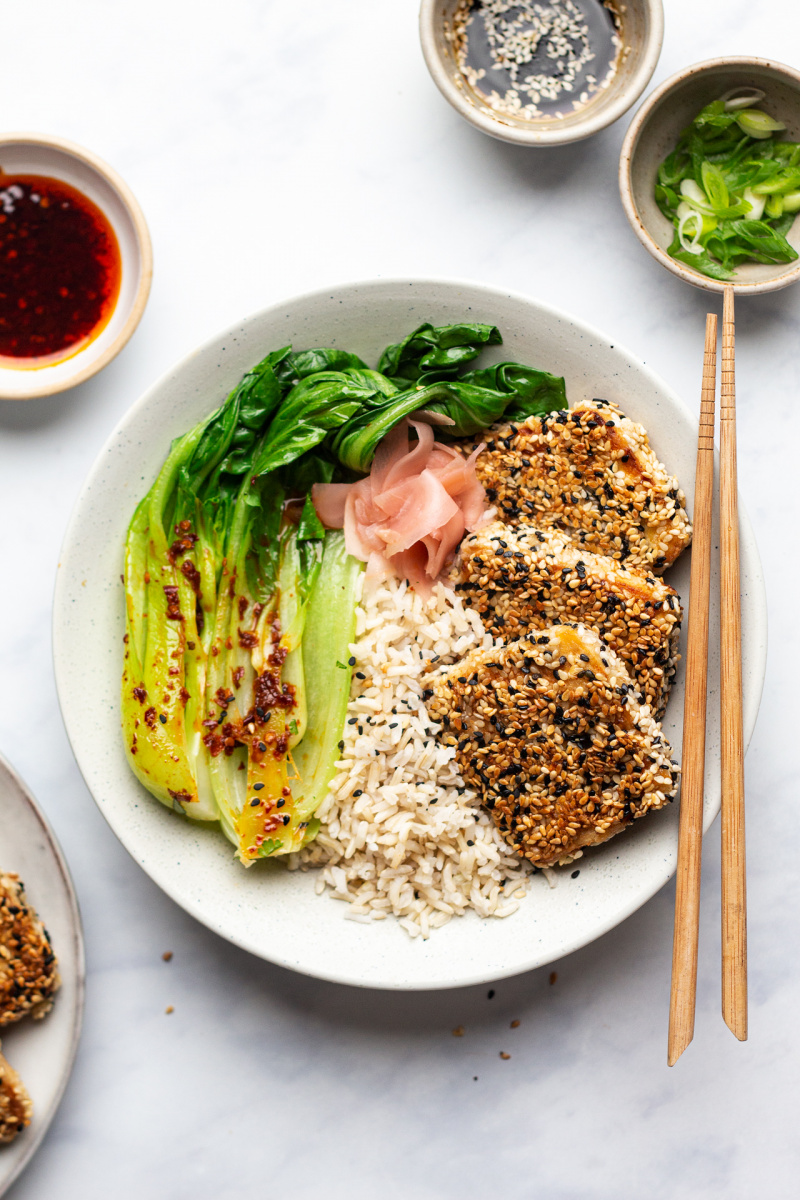 vegan sesame encrusted tofu steaks meal