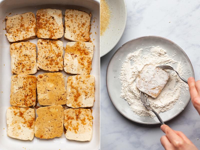 vegan sesame encrusted tofu steaks process