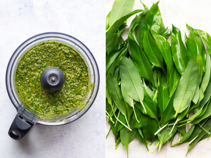 vegan wild garlic pesto making