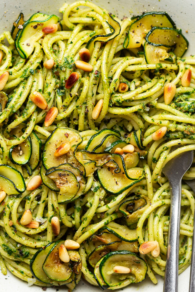 vegan wild garlic pesto pasta close up