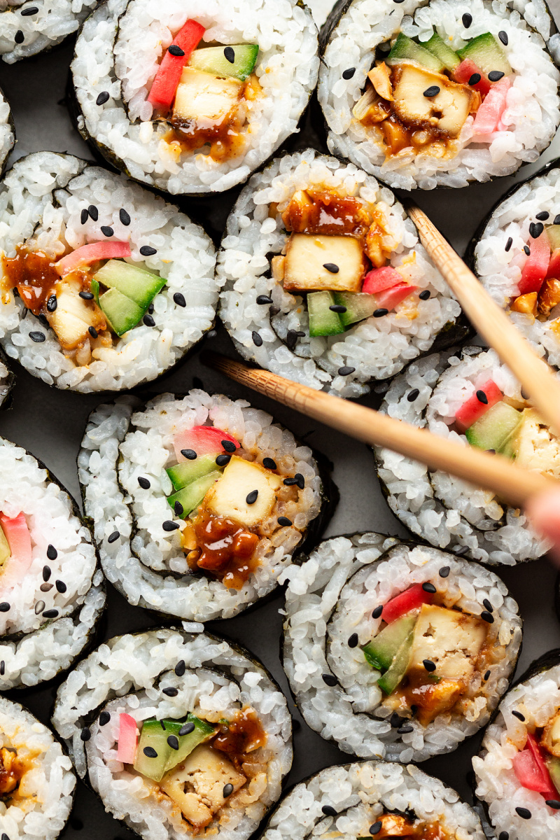 peanut tofu sushi chopsticks