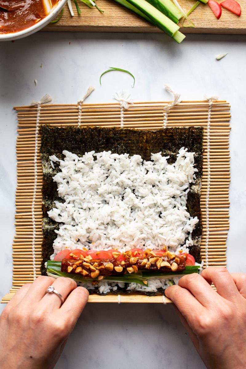 peanut tofu sushi making