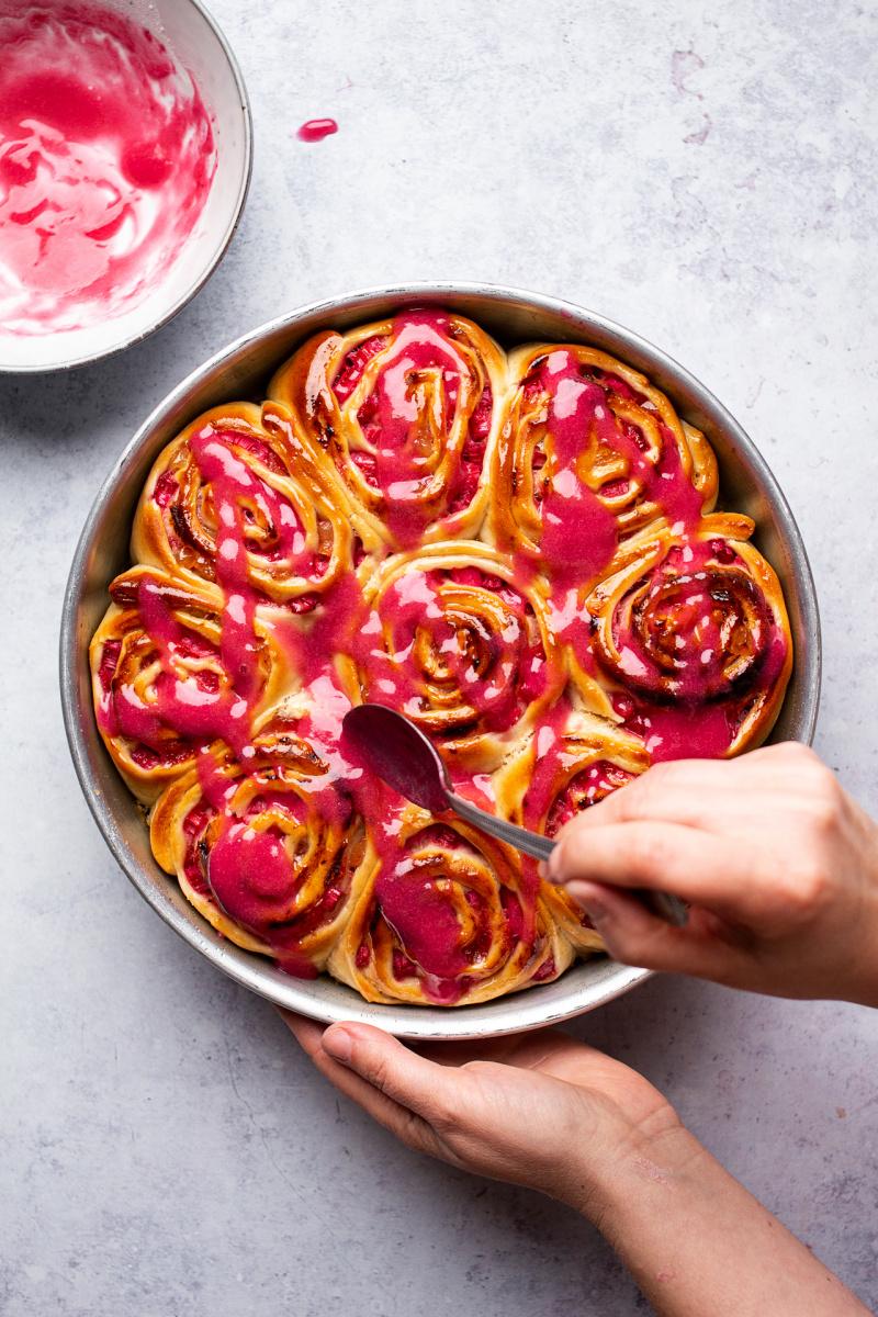 vegan rhubarb ginger buns glazing