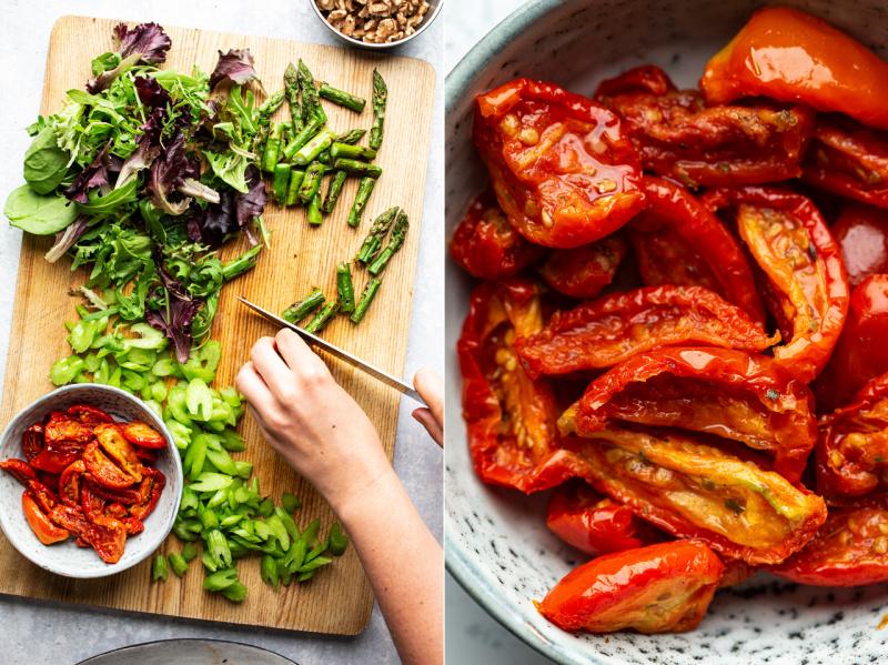 easy vegan bbq salad slow roast tomatoes