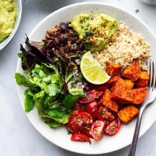 vegan burrito bowl plate