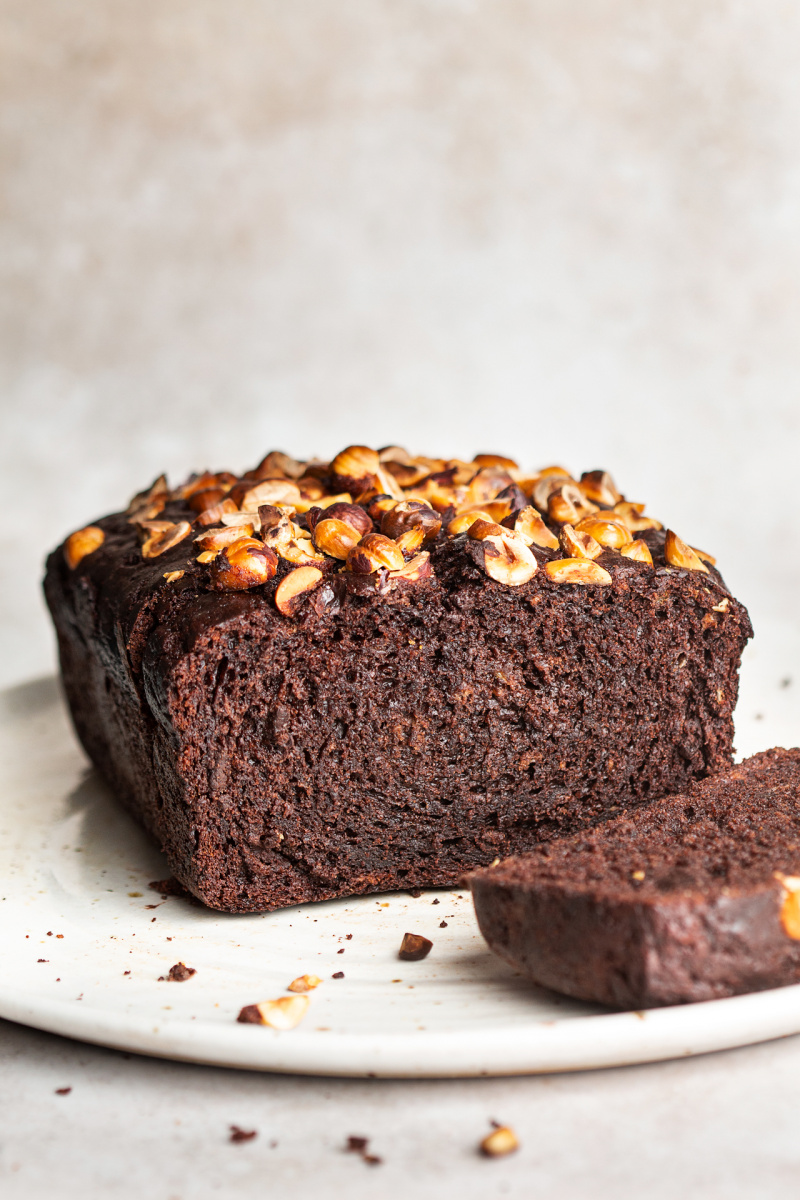 vegan chocolate banana bread cross section