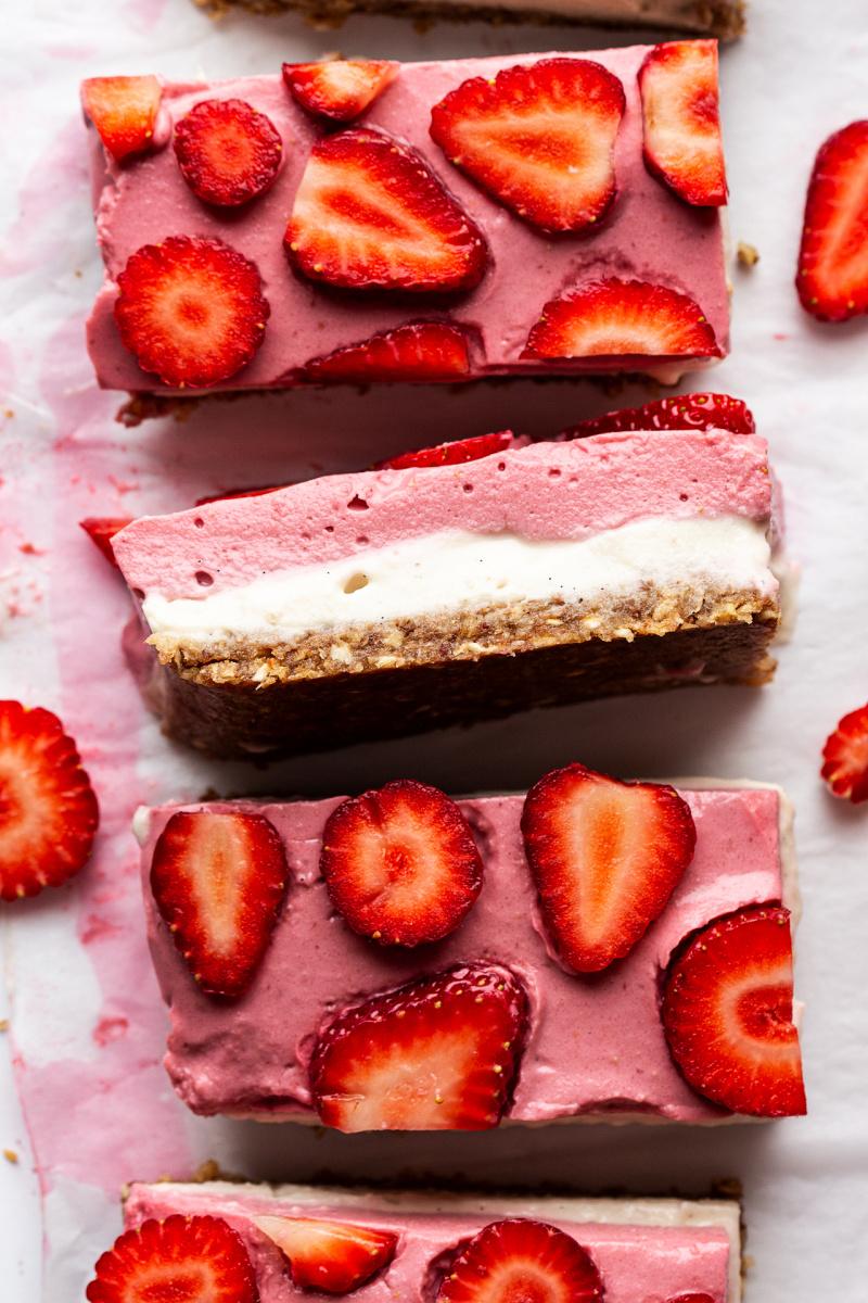 vegan strawberry cheesecake slice cross section