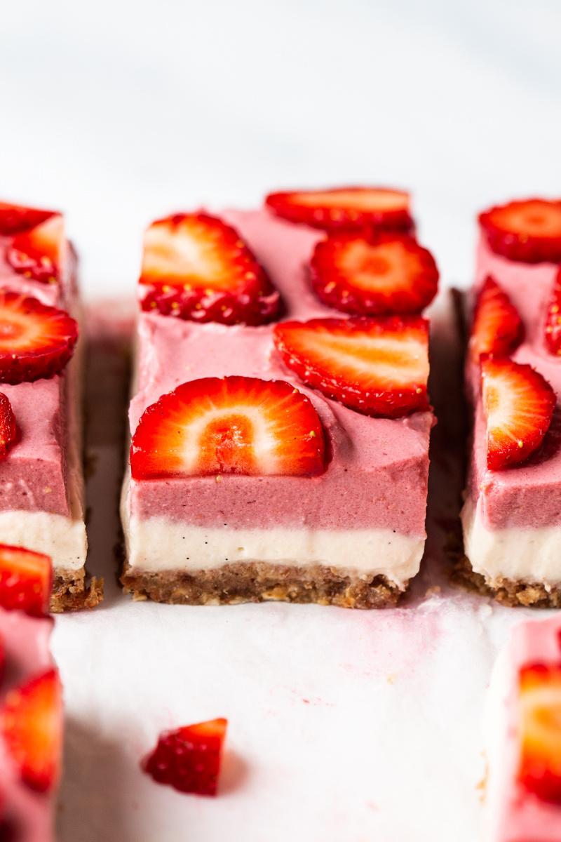 vegan strawberry cheesecake slice side