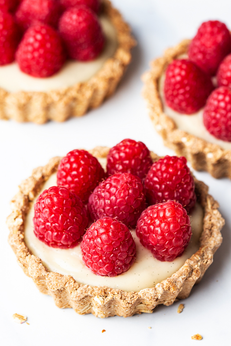 vegan white chocolate ganache tarts three