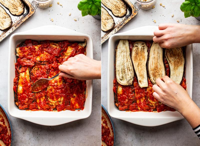 vegan eggplant parmigiana assembling