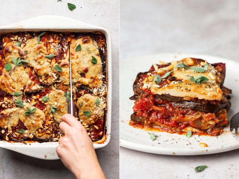 vegan eggplant parmigiana cut slice