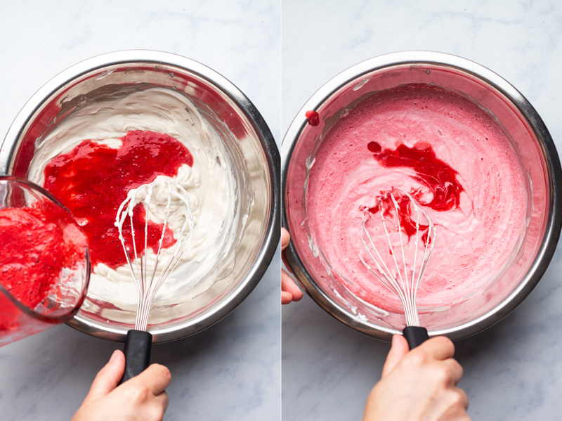 vegan raspberry mousse making